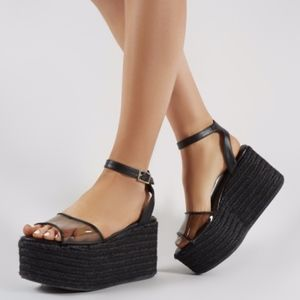 Tarini Perspex platform Sandals in Black